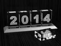 Happy New Year 2014. 3D Render of Crystal Desktop 2014 Royalty Free Stock Photos