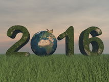 Happy new year 2016 - 3D render Stock Image