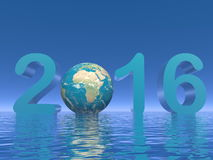 Happy new year 2016 - 3D render. Happy new year 2016 with earth and water in blue background - 3D render Stock Photo