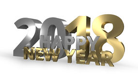 Happy New Year 3D Render golden. Graphic Stock Images