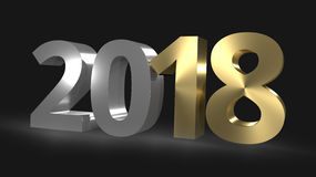 Happy New Year 3D Render golden. Graphic Stock Image