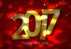 Happy new year 2017 3D render golden red Royalty Free Stock Photography