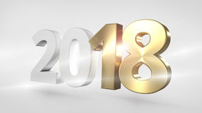 Happy New Year 3D Render Golden Sylvester. Graphic Royalty Free Stock Photo