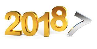 2018 happy new year 3d render. 3d render illustration of changing 2017 to 2018 new year, golden text isolated on white background Stock Illustration