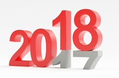2018, happy new year, 3d render illustration. New year, 2018, from past to future Stock Images