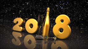 Happy new year 2018. 3D render image representing Happy new year 2018 Royalty Free Stock Image