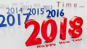 Happy New Year 2018 - 3d render. New Year 2018 - passing time concept - carpe diem - 3d render Stock Photos