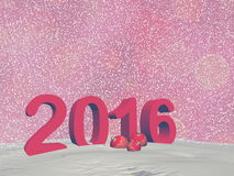 Happy new year 2016 - 3D render. Happy new year 2016 in red background with snow - 3D render Royalty Free Stock Images