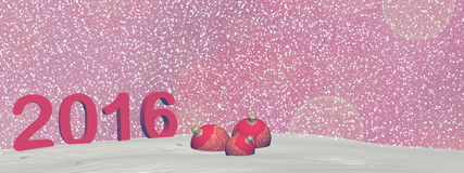 Happy new year 2016 - 3D render. Happy new year 2016 in red background with snow - 3D render Royalty Free Stock Photo
