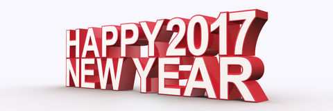 Happy new year 2017,3D render Royalty Free Stock Photo