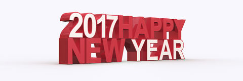 Happy new year 2017,3D render Royalty Free Stock Photos