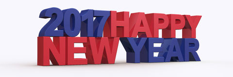 Happy new year 2017,3D render Stock Image