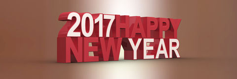 Happy new year 2017,3D render Royalty Free Stock Photography