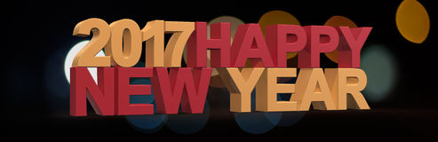Happy new year 2017,3D render Royalty Free Stock Image