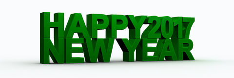 Happy new year 2017,3D render Stock Photography
