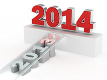 Happy New Year 2014. 3D Render of 2013 to 2014 royalty free illustration