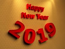 Happy New Year 2019. 3D Rendered Image Royalty Free Stock Photo