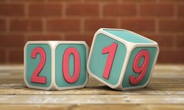 New Year 2019 - 3D Rendered Image. Happy New Year 2019 - 3D Rendered Image Design Royalty Free Stock Image
