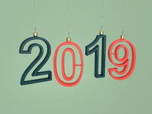 New Year 2019 - 3D Rendered Image. Happy New Year 2019 - 3D Rendered Image Design Stock Photos