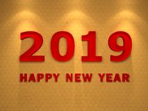 Happy New Year 2019. 3D Rendered Image Stock Photography