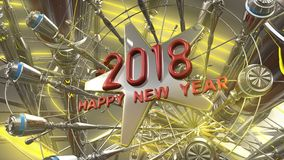 Happy New Year 3d rendering. 2018 Happy New Year 3d rendering Stock Images