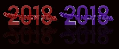 Happy New Year 3d rendering. 2018 Happy New Year 3d rendering Stock Photos