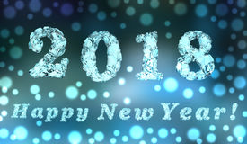 Happy new year 2018, 3D rendering Royalty Free Stock Photo