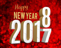 Happy new year 2018 3d rendering  change year from 2017 on red. Glitter bokeh lights background,New year and Christmas greeting card Stock Image