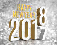 Happy new year 2018 3d rendering change year from 2017. On silver glitter bokeh lights background,New year and Christmas greeting card Stock Illustration
