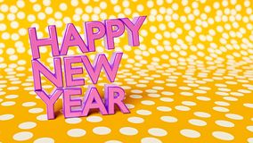 Happy new year 3d rendering. Colorful happy new year wishes 3d rendering Royalty Free Stock Images