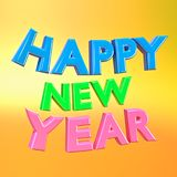 Happy new year 3d rendering. Colorful happy new year wishes 3d rendering Royalty Free Stock Photo