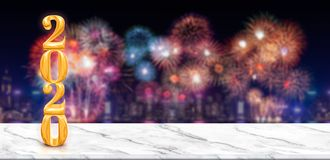 Happy new year 2020 3d rendering fireworks over cityscape at night with empty white marble table,Banner mock up template for royalty free stock image