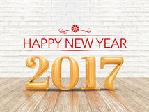 Happy New year 2017 (3d rendering) gold color number on wood pla Stock Photo