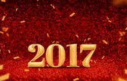 Happy new year 2017 3d rendering gold shiny color at perspecti. Ve red sparkling glitter with gold confetti,Holiday greeting card design Stock Images