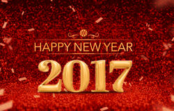 Happy new year 2017 3d rendering gold shiny color at perspecti. Ve red sparkling glitter with gold confetti,Holiday greeting card design Stock Photography