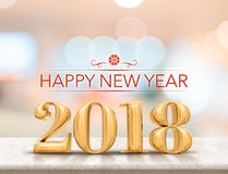 Happy new year 2018 3d rendering golden color new year on glos. Sy marble table top with blur abstract bokeh background,Holiday greeting card Stock Images