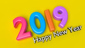 Happy new year 2019 3d rendering. Happy new year 2019 greetings text in a yellow background 3d rendering Royalty Free Stock Image