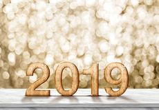 Happy new year 2019 3d rendering on grey marble table at gold. Sparkle bokeh abstract background,holiday greeting card stock images