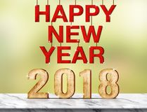 Happy new year 2018 3d rendering on marble table at green abst Royalty Free Stock Photo