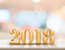 Happy new year 2018 3d rendering on marble table top with blur. Pastel color abstract bokeh background,Holiday greeting card.leave space for adding text Stock Photos