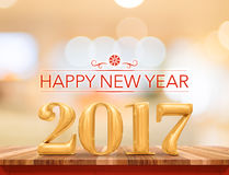 Happy new year 2017 3d rendering new year on wood plank table Royalty Free Stock Images