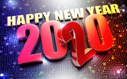 Years 2020 3d. Happy New Year 2020 3D rendering placed on the black electronic circuit vector illustration