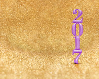 Happy new year 2017 3d rendering purple color at golden sparkl Royalty Free Stock Photos