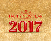 Happy new year 2017 3d rendering red color at golden sparkling Stock Photo