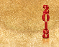 Happy new year 2018 3d rendering red color at golden sparkling Royalty Free Stock Image