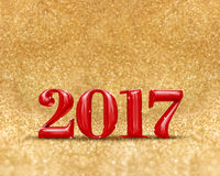 Happy new year 2017 3d rendering red color at golden sparkling. Glitter room background,new year an christmas greeting card,Mock up for display or montage of Stock Illustration