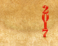 Happy new year 2017 3d rendering red color at golden sparkling. Glitter room background,Holiday greeting card,Mock up for display or montage of your design Stock Image
