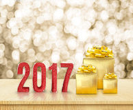 Happy new year 2017 3d rendering red glitter word and golden p Stock Photos