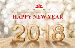 Happy new year 2018 3d renderingwood number in perspective roo Stock Images