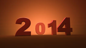 Happy new year 2014. 3D scene Stock Images